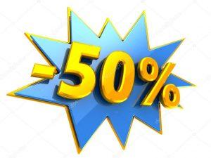 Símbolo de cincuenta por ciento de descuento