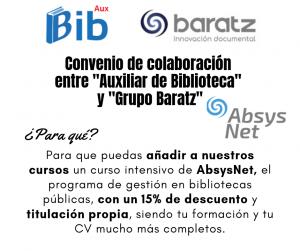 Imagen publicitaria curso auxiliar de biblioteca y absysnet